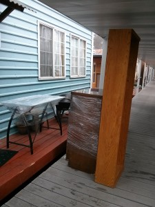 Desks and dressers on the boardwalk