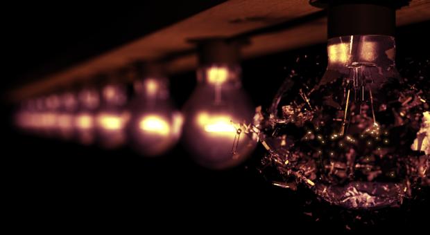 Picture of burnedout lightbulb shattering